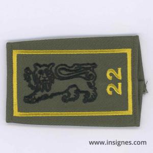 22° Bataillon d' Infanterie Passant d'épaule Jaune Tissu