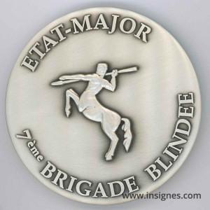 7° Brigade Blindée Etat-Major Médaille de table 70 mm