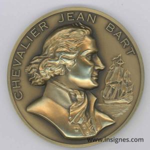 Chevalier Jean BART Marine Médaille de table 68 mm Bronze