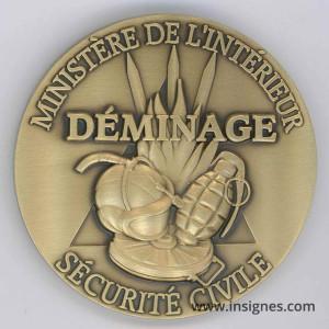 DEMINAGE Sécurité Civile Médaille de table 65 mm (bronze)