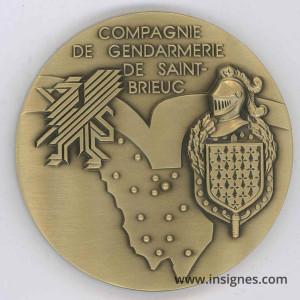 Compagnie de Gendarmerie de Saint-Brieux Médaille de table 65 mm