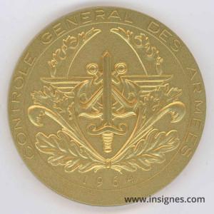 Contrôle Général des Armées Médaille de table 68 mm